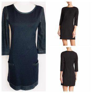 Theory Black Leather Trim 3/4 Sleeve A Line Dress